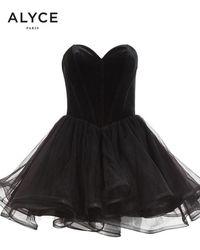 Alyce Paris 2643 Velvet Sweetheart Tulle A-line Dress - Black