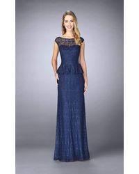 La Femme Beaded Lace Cap Sleeve Peplum Evening Gown 24896sc - Blue