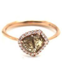 Trésor - Organic Diamond Slice With Pave Diamond Ring In K Rose Gold - Lyst