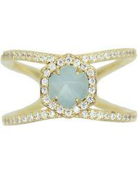 Rachael Ryen - Hexagon Pave Ring - Aqua - Lyst