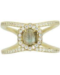 Rachael Ryen - Hexagon Pave Ring - Labradorite - Lyst