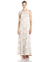 Adrianna Papell 91906310 Embroidered Sleeveless Evening Gown - White