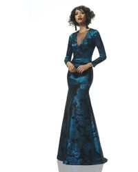 THEIA 882988 V Neck Long Sleeves Floral Trumpet Gown - Black
