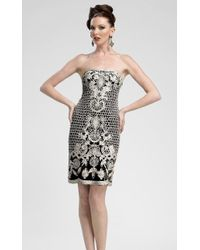 Sue Wong C3307 Strapless Embroidered Cocktail Dress - Natural