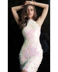 Jovani 65456 High Neck Novelty Paillettes Sheath Dress - White
