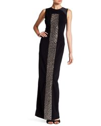 THEIA 883039 Embellished Front Crepe Gown - Black