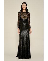 Tadashi Shoji Aquila Lace Sequin Gown - Plus Size - Black