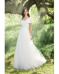 Tadashi Shoji Off-shoulder Wrap Bodice A-line Dress - White