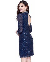 Shail K - Bejeweled High Collared Neck Column Dress - Lyst