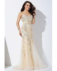 Jovani Jvn37048 Beaded Lace Strapless Trumpet Gown - Multicolor