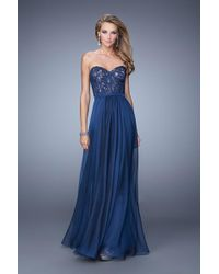 09be413ea360 La Femme - 21079 Classy Corset Style Strapless Sweetheart Gown - Lyst