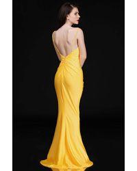 Nina Canacci 6539 Fitted And Pleated Sheath Dress - Yellow