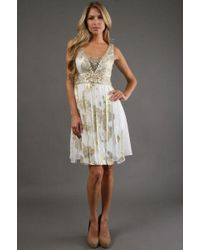 Sue Wong Ivory Gold Short Dress Cocktail Dress - White