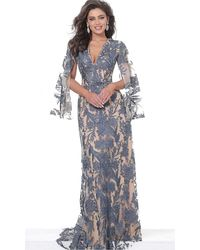 Jovani 00752 Cape Sleeve Novelty Lace Sheath Gown - Blue