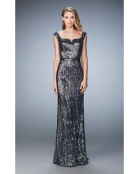La Femme - 22445 Sequined Cap Sleeves Sheath Evening Gown - Lyst