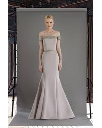 Janique W2410 Embellished Off-shoulder Mermaid Gown With Train - Metallic