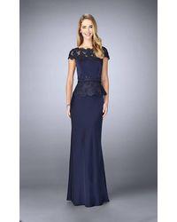 La Femme Bateau Neck Festooned Peplum Evening Gown 23444sc - Blue