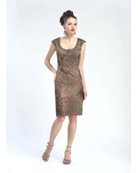 Sue Wong Cap Sleeve Sequined Cocktail Dress In Taupe N4405 -1 Pc Taupe In Size 4 Available - Brown