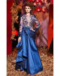 Mnm Couture 2431 Bedazzled Sheer Jewel A-line Gown - Blue
