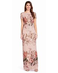 Adrianna Papell Ap1e204795 Floral Short Sleeve Bateau Column Gown - Pink