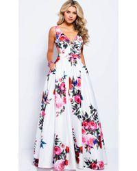 Jovani Floral V-neck A-line Evening Gown Jvn59146 - White