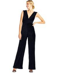 Adrianna Papell - Ap1d101576 Sleeveless V-neck Pleated Velvet Jumpsuit - Lyst