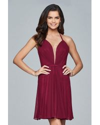 dad1aa5114 Faviana - 7851 Short Plunging V-neck Cocktail Dress With Lace-up Back -