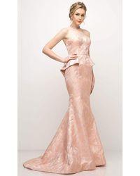 Cinderella Divine 13312 Strapless Peplum Mermaid Gown - Pink