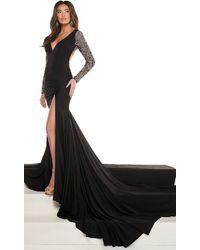 Rachel Allan - 50017 Beaded Long Sleeves Trumpet Gown - Lyst