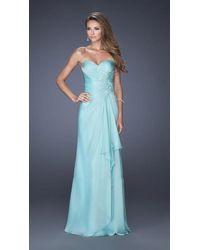 La Femme 20479 Jeweled Lace Applique Sweetheart Gown - Blue