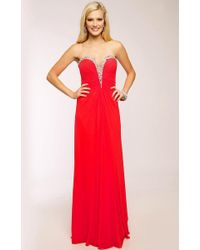 Jovani - Bejeweled Ruched Sweetheart Chiffon A-line Dress Jvn - Lyst