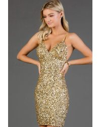 Scala 48782 Fitted String Strapped Sequin Dress In Rouge - Metallic