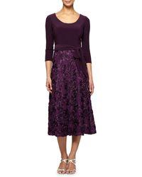 Alex Evenings 1121875 Quarter Sleeve Jersey Lace Tea Length Dress - Purple