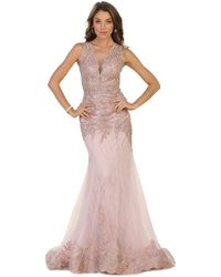 May Queen Sleeveless Sheer Illusion Evening Gown - Pink