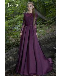 Janique Lace Embellished Long Sleeve Bateau Neck Long A-line Gown B - Multicolor