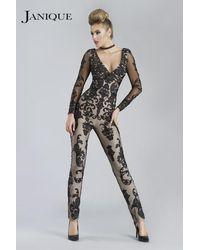 Janique - Tailored V-neck Lace Overlaid Jumpsuit K - Lyst