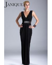 Janique Adorable Ruched Evening Gown With A Plunging Neckline - Black
