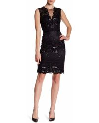 THEIA 882658 Floral Embroidered Illusion Dress - Black