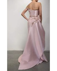 Terani Couture 2111e4757 Bead-ornate Draped High Slit Gown - Pink