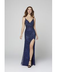 Primavera Couture 3422 Sequined V-neck Long Gown - Blue