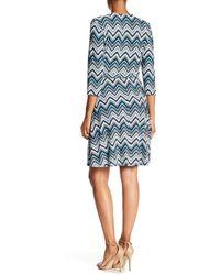 Sandra Darren 71409 Quarter Length Chevron Print Dress - Blue