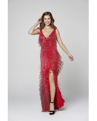 Primavera Couture 3407 Beaded Fringe Plunging V-neck Fitted Dress - Red