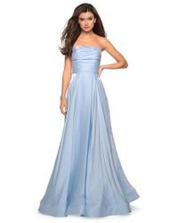La Femme 27130 Strapless Ruched Bodice Two Tone Satin A-line Gown - Blue