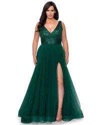 La Femme - 29045 Sequined V-neck High Slit Gown - Lyst