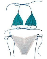 Leah Shlaer Swimwear - The Caviar Bikini Bottoms In White Mesh/ Teal - Lyst