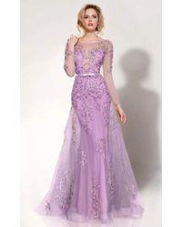 Mnm Couture 9621 Illusion Bateau Neck A-line Dress - Purple