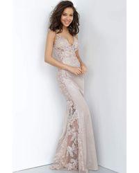 Jovani Sheer Appliqued Glitter Sheath Gown Jvn2205sc - Multicolor