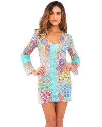Luli Fama - Siren Dance Lace Cutout Plung V Neck Dress In Multicolor (l) - Lyst