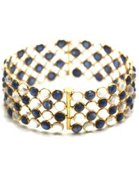 Trésor - Blue Sapphire & Rainbow Moonstone Line Bangle In K Yellow Gold - Lyst