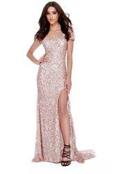 0786b015370 Shail K - 12229 Allover Sequin Off Shoulder High Slit Prom Gown - Lyst